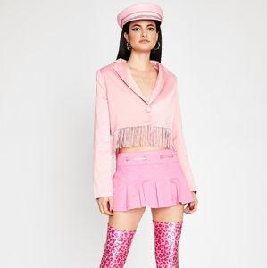 Dolls Kill Baby Let Me Live Pink Fringe Blazer-NWT